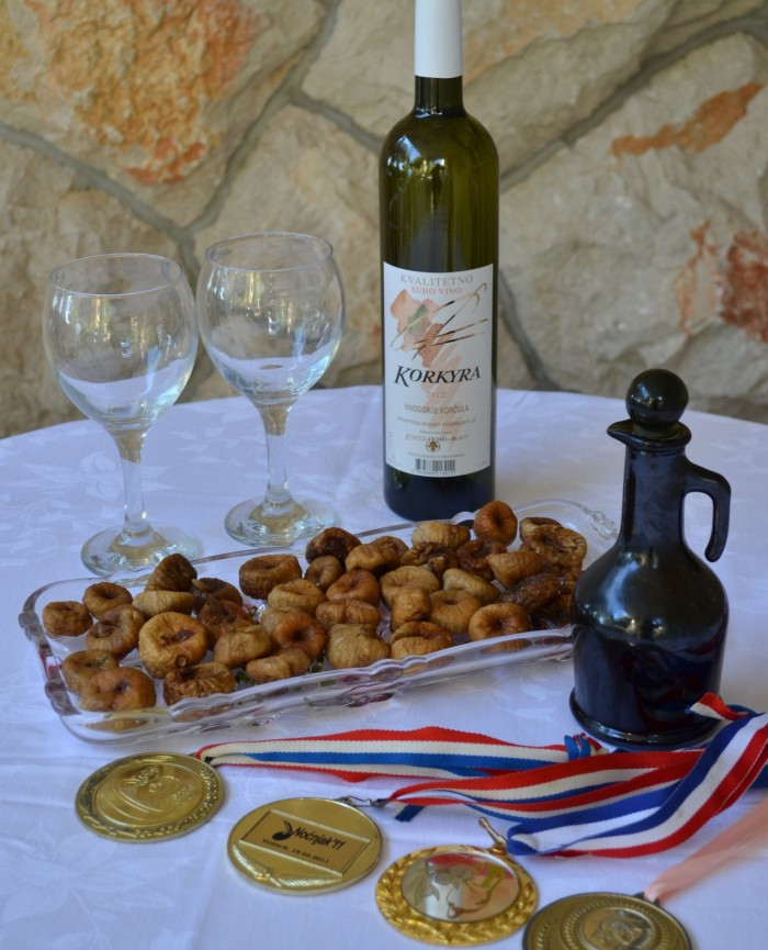 Korkyra wine quality medals and dried figs